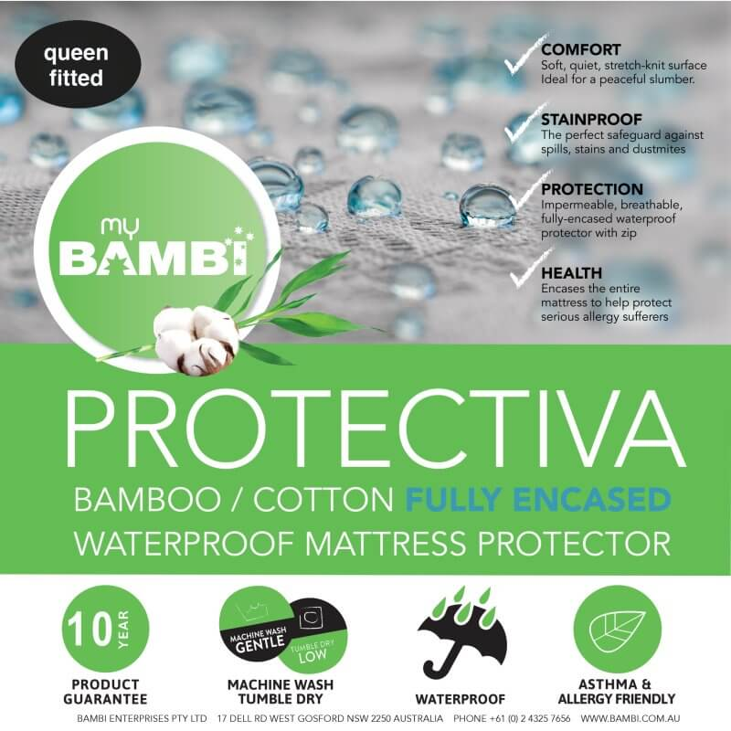 Encasement Mattress Cotton/Bamboo Waterproof Mattress Protector – Fully Encased – Stretch Knit